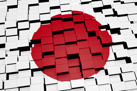 Japan flag background formed from digital mosaic tiles, 3D rendering