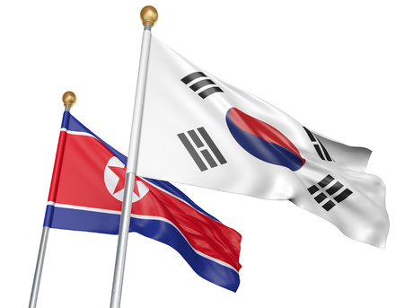 Isolated South Korea and North Korea flags flying together for diplomatic talks and trade relations, 3D rendering