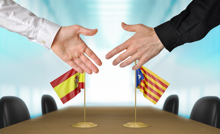 Spain and Catalonia diplomats shaking hands to agree deal, part 3D rendering Stock Photo