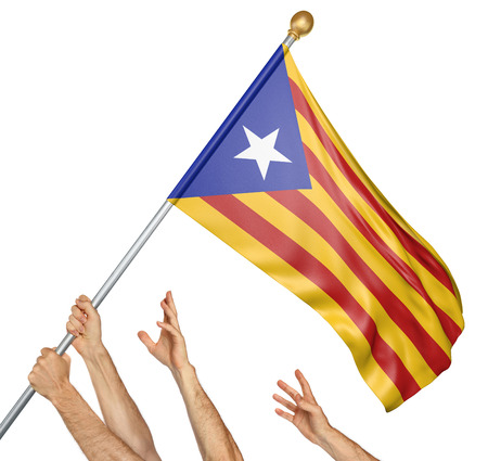Team of peoples hands raising the Catalonia independence flag, 3D rendering isolated on white background