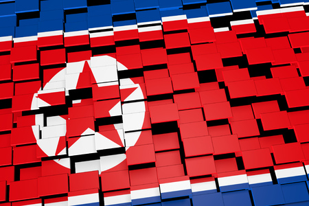 North Korea flag background formed from digital mosaic tiles, 3D rendering