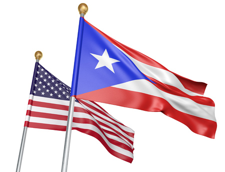 Isolated Puerto Rico and United States flags flying together for unity and support, 3D rendering Stock Photo