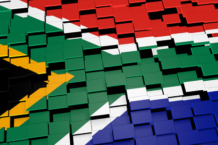 South Africa flag background formed from digital mosaic tiles, 3D rendering Stock Photo