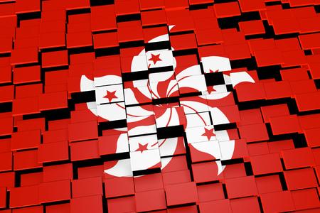 Hong Kong flag background formed from digital mosaic tiles, 3D rendering