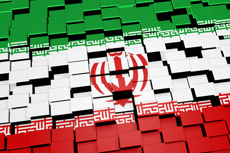Iran flag background formed from digital mosaic tiles, 3D rendering