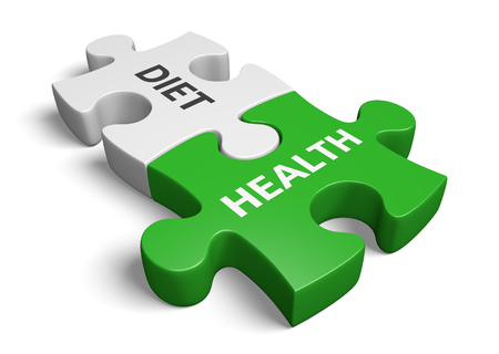 Lifestyle planning concept for keeping a controlled balance between diet and health, 3D rendering Stock Photo