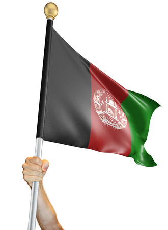 Hand holding the flag of Afghanistan isolated on a white background, 3D rendering Stock Photo