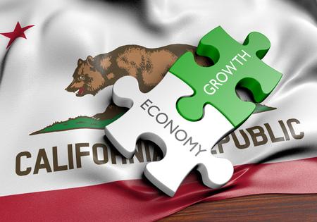 カリフォルニア州の経済と金融市場成長 GDP 概念、3 D レンダリング