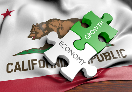 California economy and financial market growth GDP concept, 3D rendering Imagens