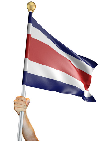 Hand holding the flag of Costa Rica isolated on a white background, 3D rendering