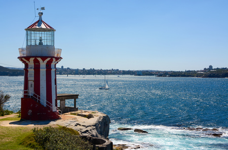 Historic Hornby Lighthouse, also known as South Head Lower Light, erected in 1858 in NSW, Australia