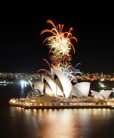 SYDNEY, AUSTRALIA - MARCH 8, 2018 - The Sydney Opera House hosts an incredible fireworks show over the citys harbor