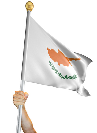 Hand holding the flag of Cyprus isolated on a white background, 3D rendering Stock Photo