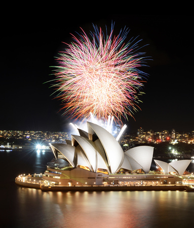 SYDNEY, AUSTRALIA - MARCH 8, 2018 - The semi-finale of a fireworks show crowns the Sydney Opera House in incredible colors