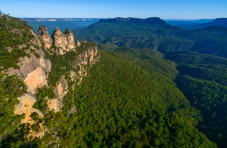 Wide angle view of the Jamison Valley and its famous landmarks in Australias Blue Mountains