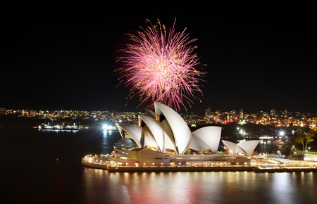 SYDNEY, AUSTRALIA - MARCH 8, 2018 - The Sydney Opera House hosts an impression show of fireworks at night