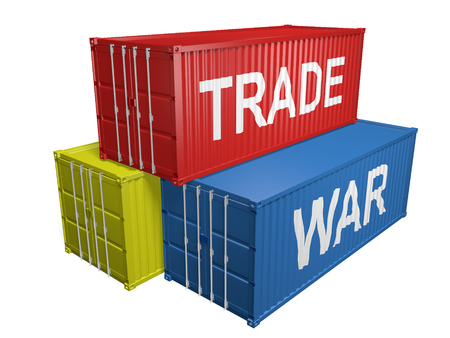 Pile of shipping containers for imports and exports with the words trade war, 3D rendering on a white background