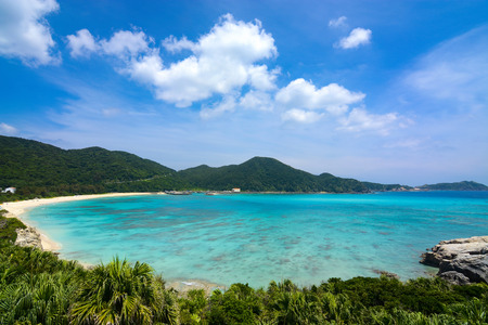 Tropical paradise landscape at Aharen Beach on Tokashiki Island in Okinawa, Japan