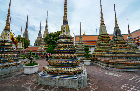 Numerous chedis, or stupas, at the historic Wat Pho grounds in Bangkok, Thailand