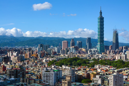 Densely populated city skyline of Taipei, capital of Taiwan