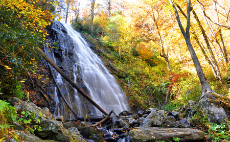 Crabtree Falls in Marion, North Carolina during a colorful autumn