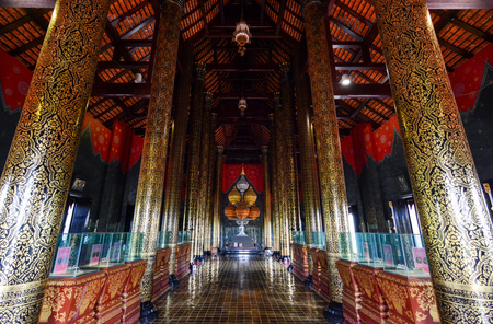 Chiang Mai, Thailand - July 22, 2016: Ornate interior of Ho Kham Luang Royal Pavilion at Royal Park Rajapruek