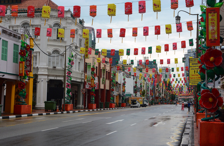 Singapore - September 10, 2018: View of South Bridge Road in Singapores Chinatown