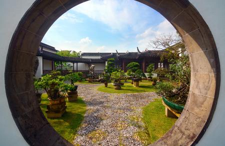 Moon gate in the Bansai Garden at Singapore's Chinese Garden