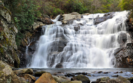 Cascading whitewater at Laurel Falls in Hampton, Tennessee