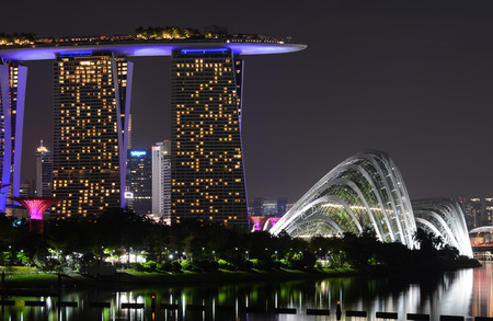 Marina Bay Sands and Gardens by the Bay in Singapore at night