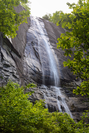 Hickory Nut Falls framed by spring foliage at Chimney Rock State Park in North Carolina