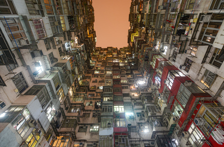 Crowded apartment homes in the Yick Fat, Yick Cheong, and Fok Cheong buildings at Montane Mansion