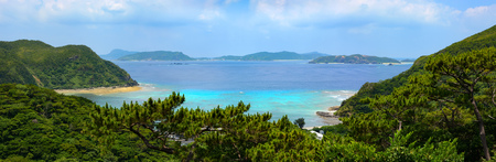 Beautiful panoramic view of Tokashiku Beach on the tropical island of Tokashiki in Okinawa, Japan