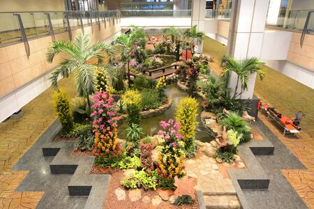 An orchid garden and koi pond welcome travelers in Singapores world-renowned Changi Airport