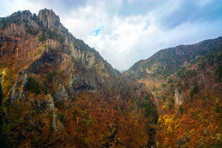 Rugged mountainous landscape near Hoheikyo Dam in Jozankei, Sapporo during autumn in Japan