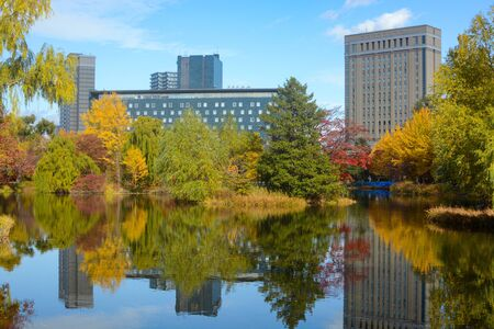 Colorful yellow and red autumn foliage reflections in a lake at Nakajima Park in Sapporo, Japan