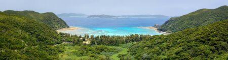 Wide landscape view of Tokashiku Beach on Tokashiki Island in Okinawa, Japan