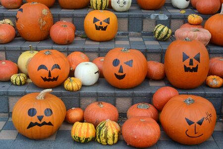 Halloween jack-o'-lantern pumpkins with a range of funny and spooky faces