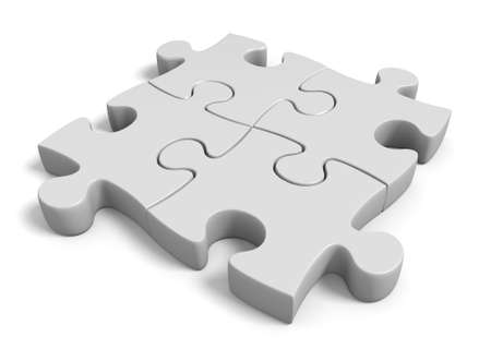 3D rendering of a group of four interlocked puzzle pieces on a white background Foto de archivo