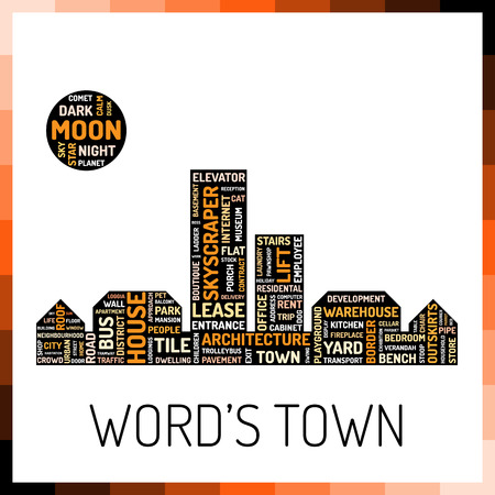 textcloud: Picture of town or city consists of different words