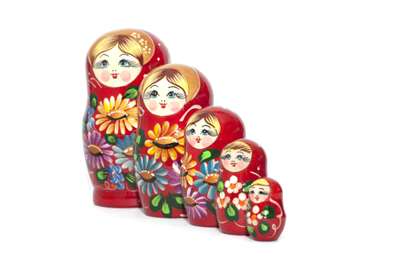 matreshka: Wooden toy matreshka isolated on white background