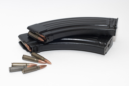 ak47: Two magazines with 7.62 bullets for AK-47 and SKS isolated