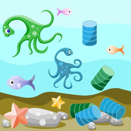 pollution water: Deep-sea life. Attitude of animals to the pollution of the environment by human.