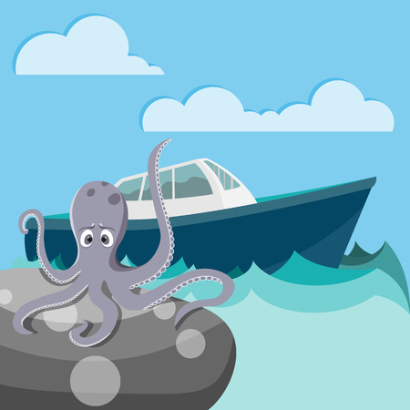 devil fish: Octopus is sitting on the stone and waiting for ship Illustration