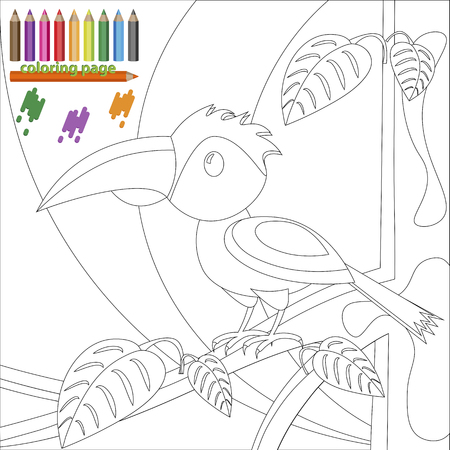 kindergartner: Coloring book page of bird on the tree for kids