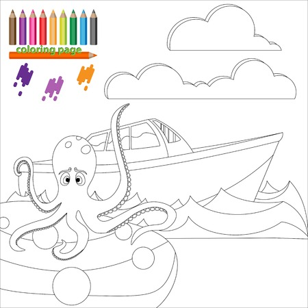 devil fish: Coloring page for kids. octopus is sitting on the stone and waiting for ship