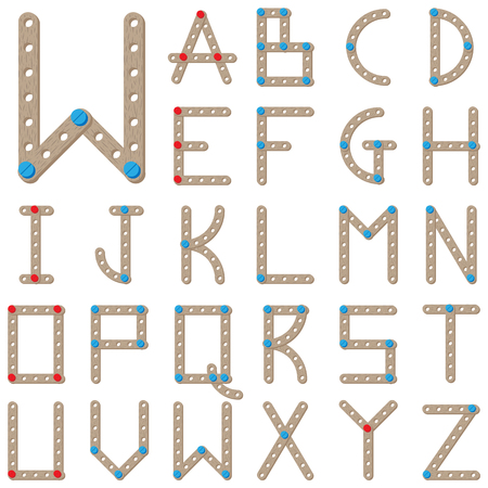 vowel: Latin alphabet. Wooden meccano letters. Constructor font Illustration