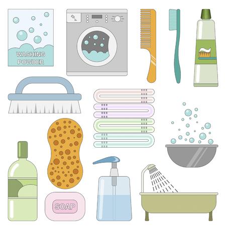 Articles dans la salle de bain. Ensemble d'icônes plats. Laver les choses Vecteurs