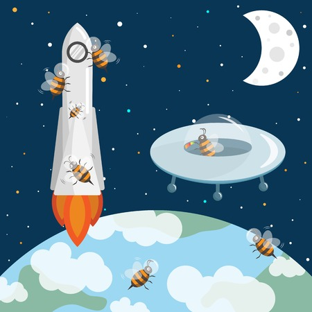 earth from space: Bees in the space. Flying UFO and rocket. Stars, earth and moon. Cosmos illustration with spaceships