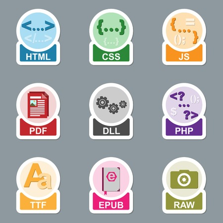 css: Set of file type icons. Pictograms of media extensions